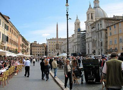 Piazza Navona in Rome with terraces and street artists