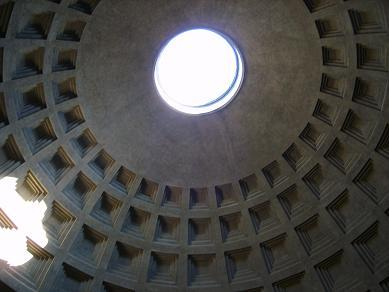 roof of the pantheon with the opening